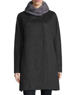 Mink-trim Felt Coat