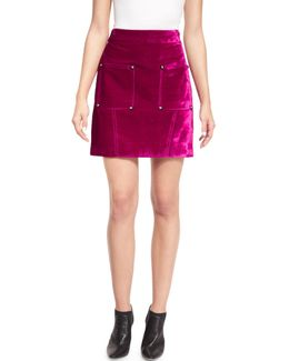 Croc-embossed High-waist Mini Skirt