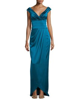 Cap-sleeve Ruched Column Gown