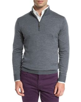 Striped Quarter-zip Sweater