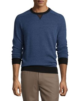 Sueded-trim Crewneck Sweater