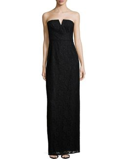 Reese Strapless Lace Column Gown