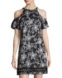 Cold-shoulder Floral-print Scuba Dress