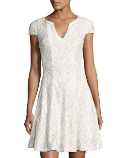 Split-neck Floral-lace Dress
