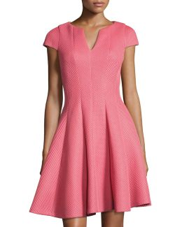 Split-neck Cap-sleeve Fit-and-flare Dress