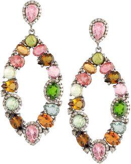 Multicolored Tourmaline & Diamond Drop Earrings