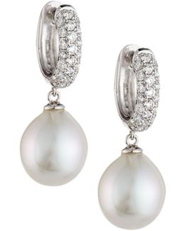 Akoya Pearl & Diamond Hoop/drop Earrings
