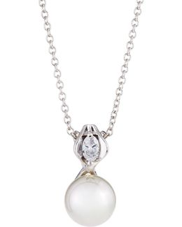 12mm Simulated Pearl & Crystal Pendant Necklace