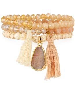 Crystal & Howlite Beaded Stretch Bracelets