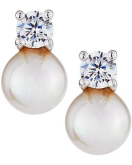 7mm Simulated Pearl & Crystal Stud Earrings