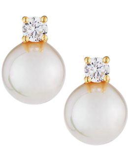10mm Simulated Pearl & Crystal Stud Earrings