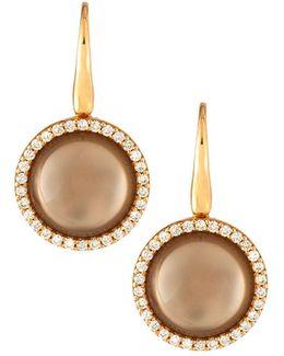 18k Rose Gold Smoky Quartz & Diamond Drop Earrings