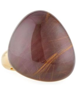 Fantasia 18k Rutilated Quartz & Purple Mother-of-pearl Cocktail Ring