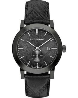 Men's 42mm Stainless Steel & Leather City Watch