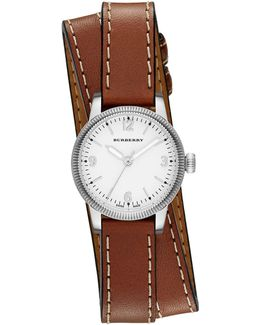 Stainless Steel Check-dial Leather Watch