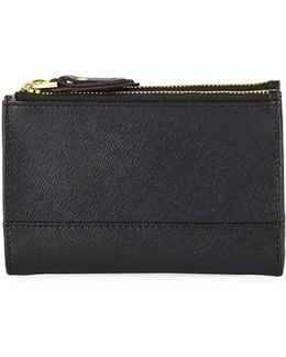 Saffiano Leather Fold-over Wallet