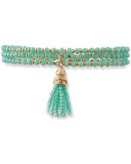 Triple-row Crystal Tassel Stretch Bracelet