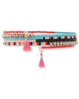 Tasseled Seed Bead Coil Bracelet