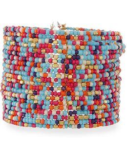 Wide Multi-row Seed Bead Cuff Bracelet