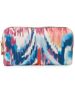 Faux-leather Ikat-print Cosmetic Travel Case