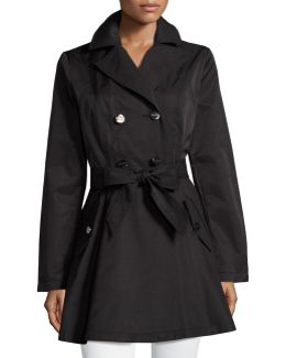 Cotton-blend Fit-and-flare Trench Coat