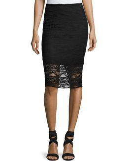 Lace Illusion Pencil Skirt