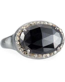 Oval Black Spinel & Champagne Diamond Ring
