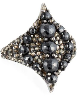 Black Spinel & Champagne Diamond Pointed Ring