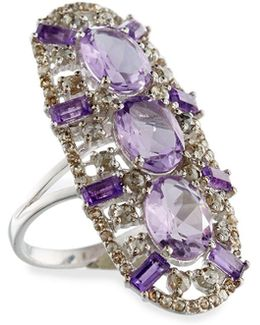 Amethyst & Diamond Oval Cocktail Ring