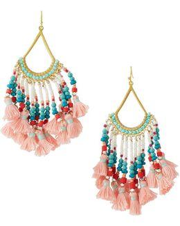 Beaded Tasseled Drop Earrings