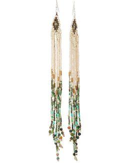 Long Beaded Multi-strand Dangle Earrings