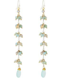 Long Beaded Crystal Dangle Earrings