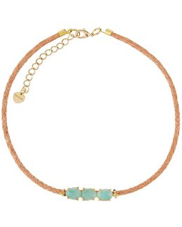 Triple Amazonite & Braided Leather Choker Necklace