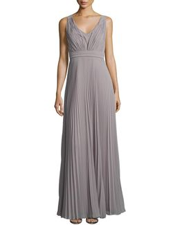 V Neck Pleat Gown