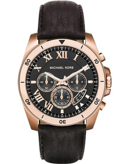 44mm Brecken Chronograph Watch W/ Leather Strap