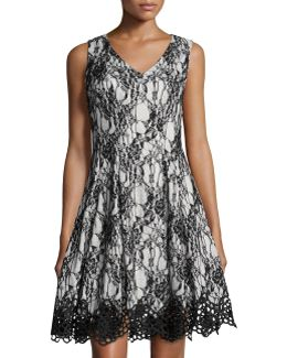 Bonded Lace Fit-and-flare Sleeveless Dress