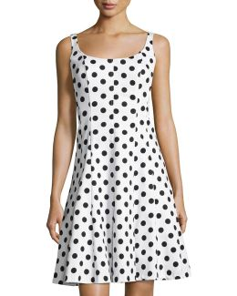 Scoop-neck Polka-dot A-line Dress
