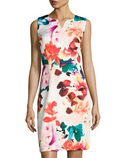 Split-neck Floral-print Sheath Dress