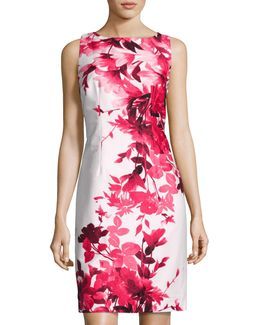 French-dart Floral-print Sheath Dress