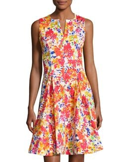 Split-neck Floral-print Fit-and-flare Dress