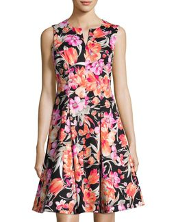 Floral-print Split-neck Sleeveless A-line Dress
