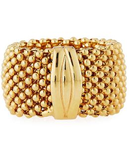 18k Yellow Gold Beaded Band Ring