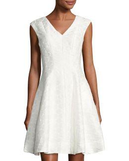 V-neck Circle-print Dress