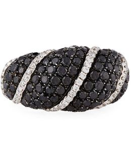 18k White Gold Black & White Diamond Ring