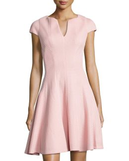 Split-neck Cap-sleeve Dress