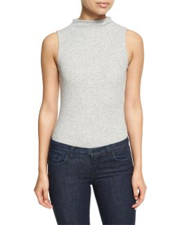 Funnel-neck Ribbed Bodysuit