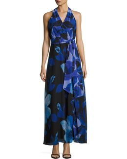 Faux-wrap Floral-chiffon Maxi Dress