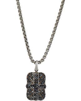 Men's Pave Black Sapphire Union Jack Dog Tag Necklace