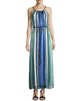 Halter-neck Striped Maxi Dress