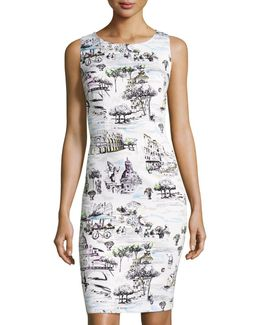Rome-print Sleeveless Sheath Dress